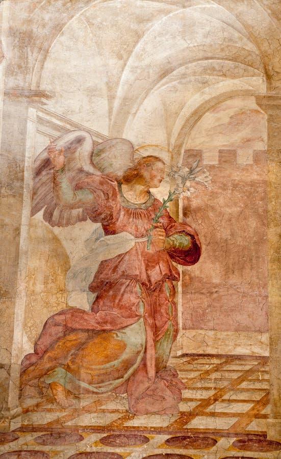 ROM - 22. MÄRZ: Erzengel-Gabriel-Fresko von der Ankündigung scen stockbilder