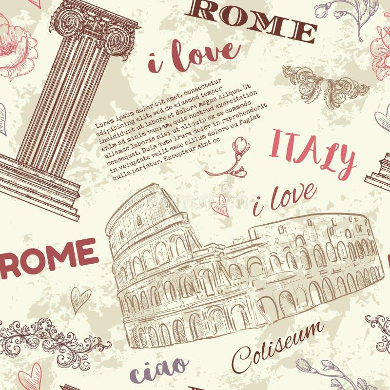 rom Nahtloses Muster der Weinlese mit Kolosseum, klassischer Artspalte, Blumen und Text auf Schmutzhintergrund lizenzfreie abbildung