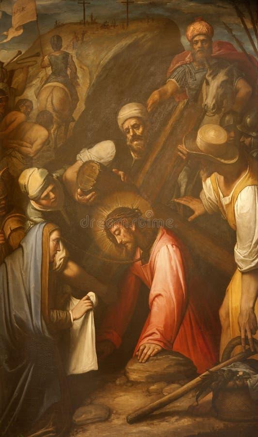 Rom - panit von Jesus unter Kreuz stockbilder