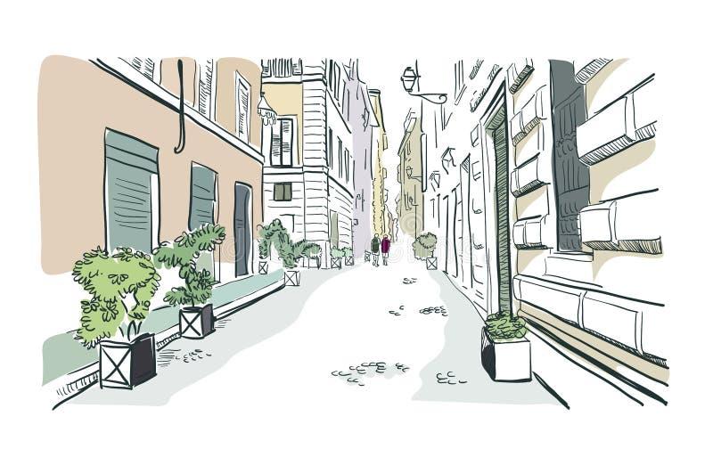 Rom-Straße vetor Illustrations-Skizzenlinie Aquarell lizenzfreie abbildung