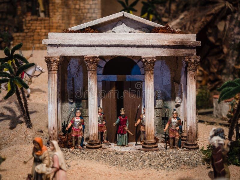 Romańscy żołnierze w Bożenarodzeniowej narodzenie jezusa scenie zdjęcia stock