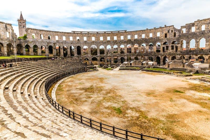 Romańscy Amphitheatre Pula Pula, Istria, Chorwacja obrazy royalty free