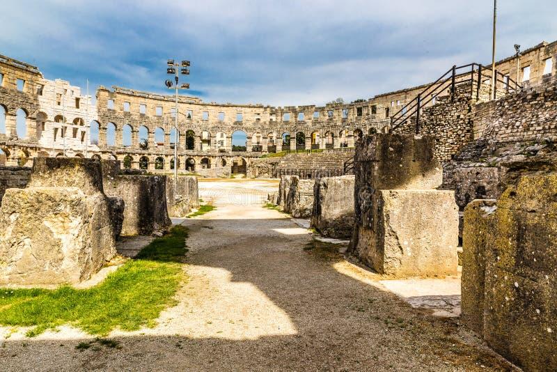Romańscy Amphitheatre Pula Pula, Istria, Chorwacja fotografia royalty free