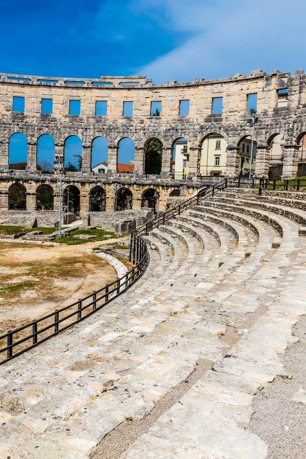 Romańscy Amphitheatre Pula Pula, Istria, Chorwacja zdjęcie royalty free