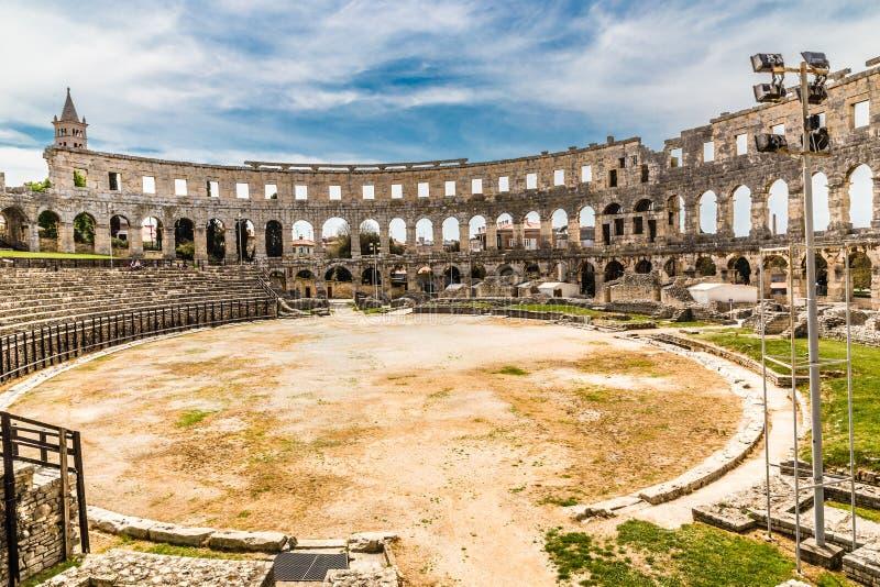 Romańscy Amphitheatre Pula Pula, Istria, Chorwacja zdjęcia royalty free