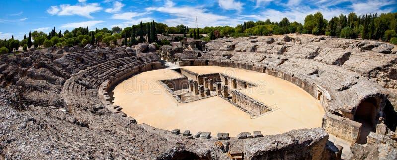 Romańska amfiteatr ruina Italica, Hiszpania zdjęcie stock