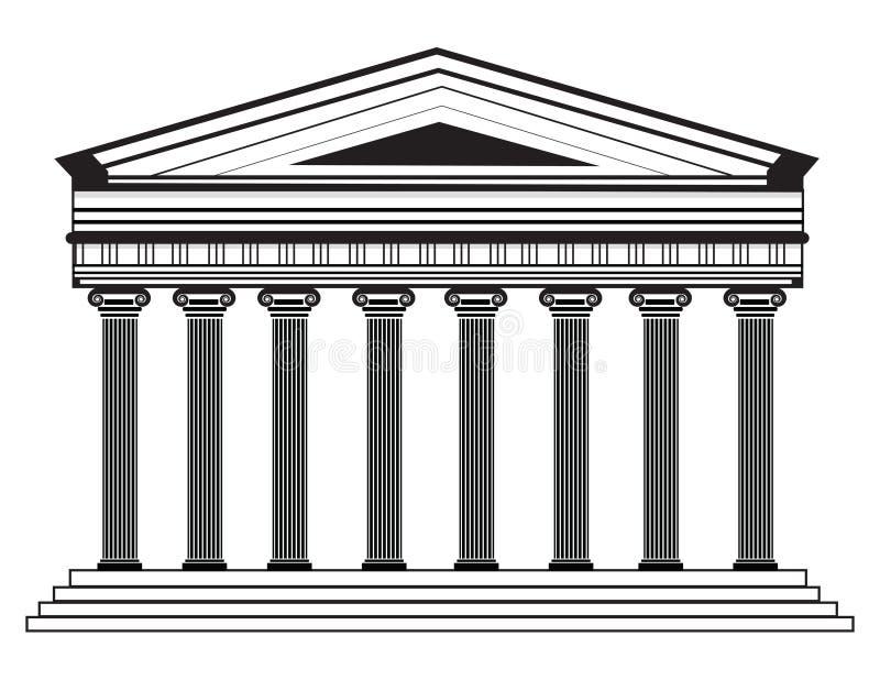 Romańska, Grecka Wektorowa panteon świątynia z Doric kolumnami/ royalty ilustracja