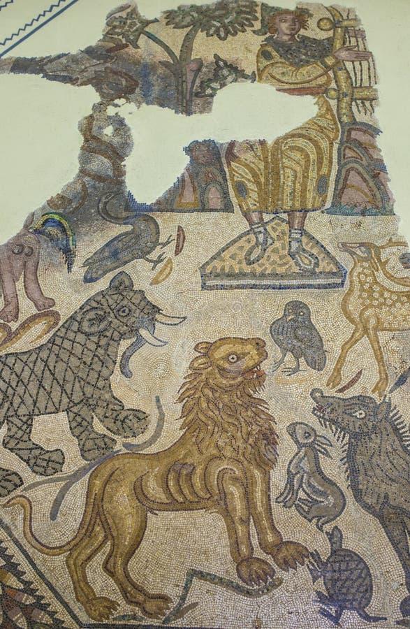 Romańska mozaika przedstawia Orpheus mit obrazy stock
