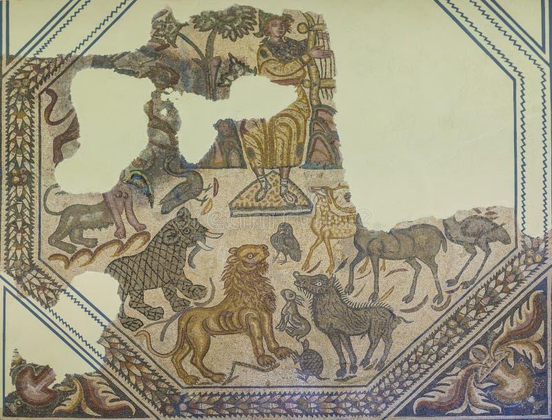 Romańska mozaika przedstawia Orpheus mit obraz stock