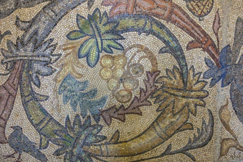 Romańska mozaika z czerepem wiązka winogrona obrazy stock
