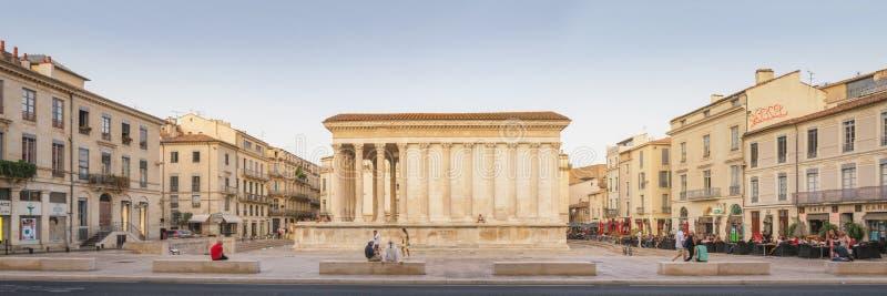 Romański Świątynny Maison Carree w Nimes, Francja zdjęcie stock