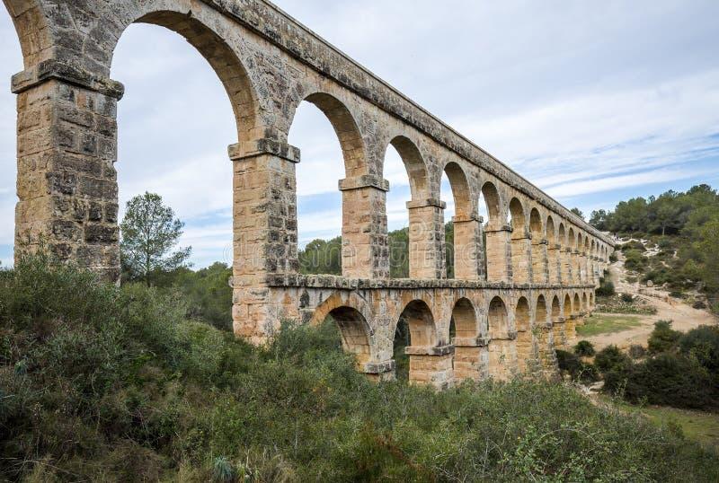Romański Akwedukt Pont Del Diable w Tarragona, Hiszpania fotografia royalty free