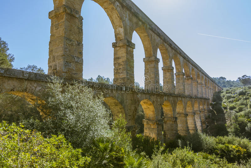 Romański Akwedukt Pont Del Diable w Tarragona, Hiszpania zdjęcie royalty free
