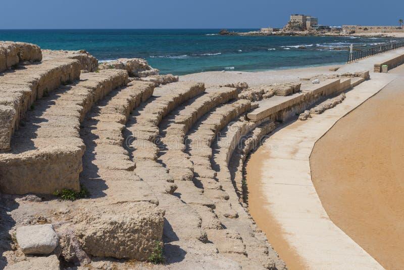Romański amfiteatr, archeologiczne ekskawacje w antycznym mieście Caesarea, Izrael fotografia royalty free