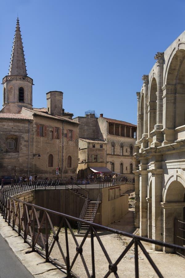 Romański Amfiteatr Południe Francja - Arles - zdjęcie stock