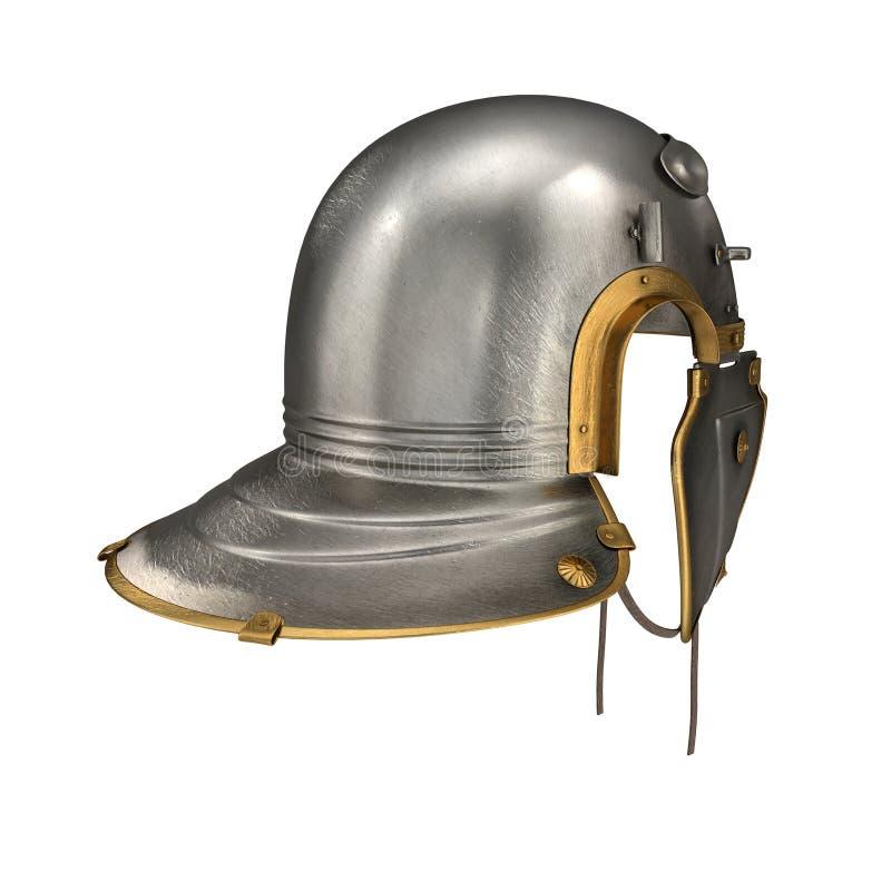 Romański centurionu hełm na bielu ilustracja 3 d royalty ilustracja