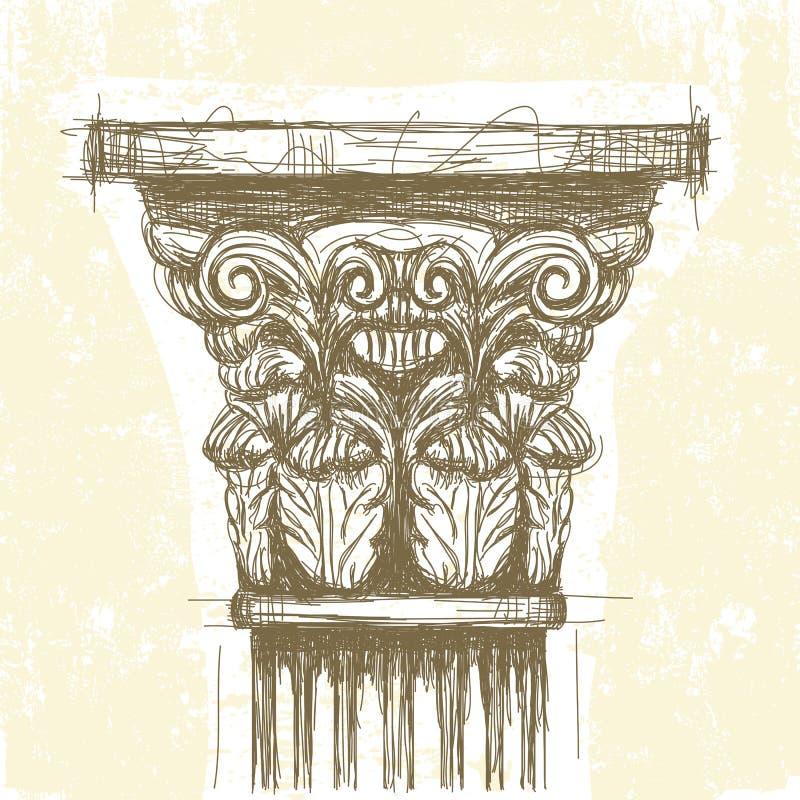Romański Koryncki kapitał ilustracji