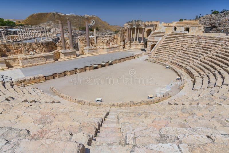 Romański teatr w Jordanowskiej dolinie, Północny okręg, Izrael fotografia royalty free
