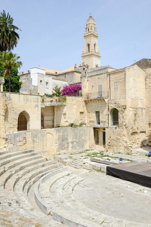 Romański theatre Lecka na Puglia zdjęcie stock