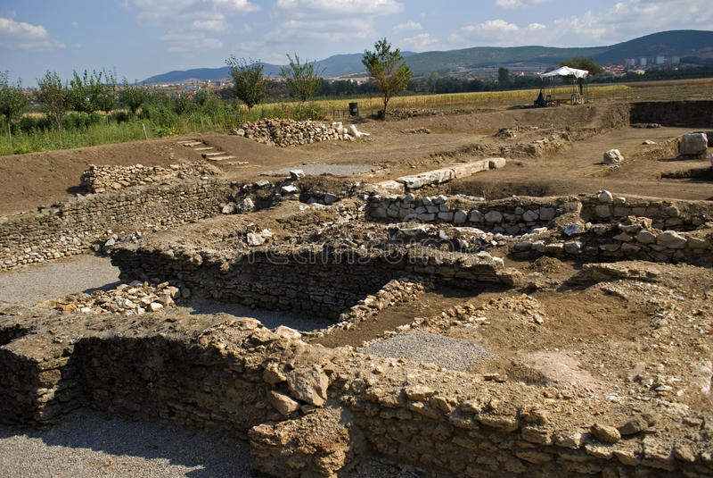 Romańskie ruiny, Ulpiana, Kosowo obraz stock