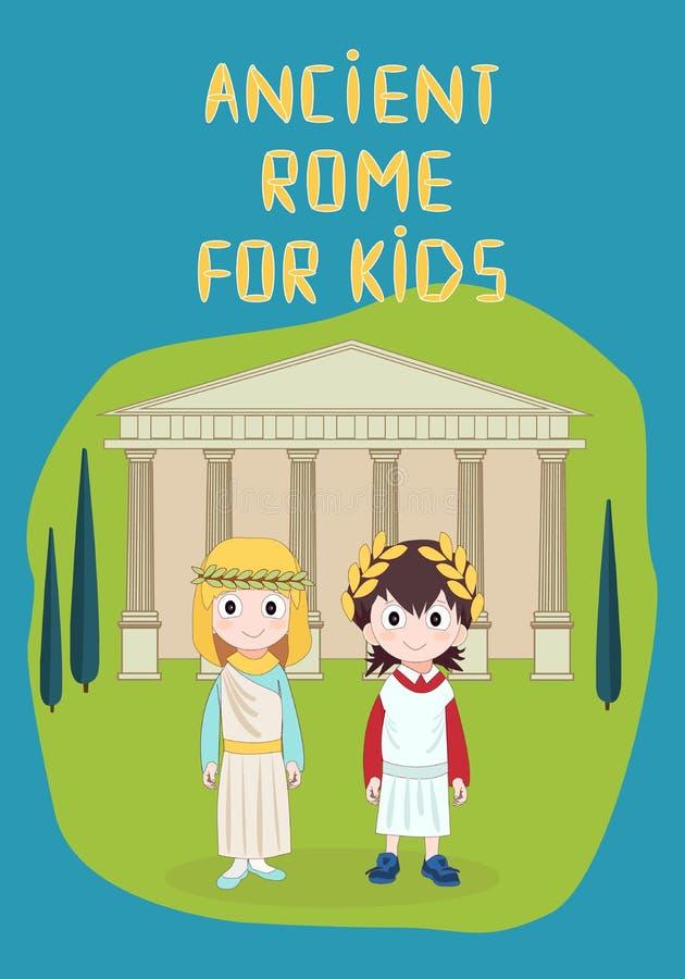 Roma antica per i bambini vector l'illustrazione con il tempio, la ragazza ed il ragazzo portanti il costume antico, per la stori royalty illustrazione gratis