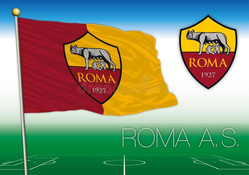 ROME, ITALY, YEAR 2017 - Serie A football championship, 2017 flag of the Roma team. Roma AS football club flag and seal, vector file, illustration