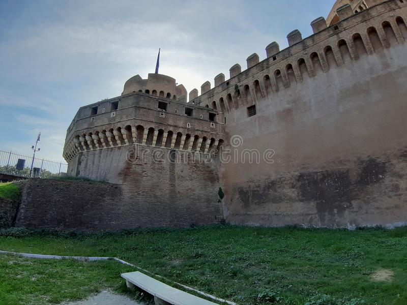 Rome - Bastione San Giovanni from the park of Castel Sant`Angelo. Rome, Lazio, Italy - October 23, 2019: Bastione San Giovanni of Castel Sant`Angelo royalty free stock images