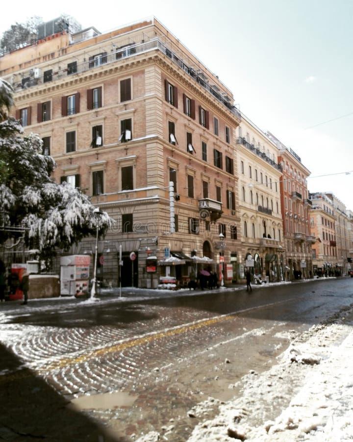 Roma com neve fotografia de stock
