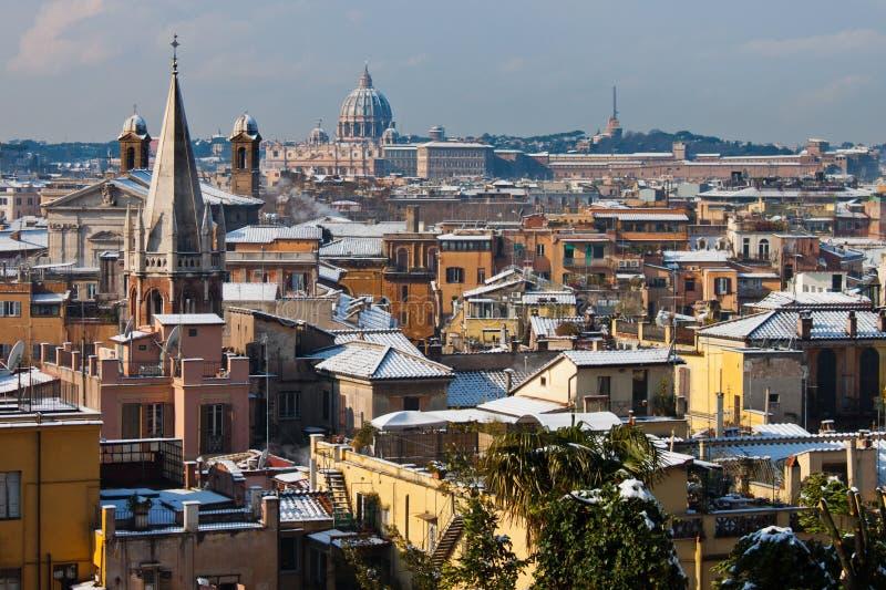 Roma con neve. fotografia stock