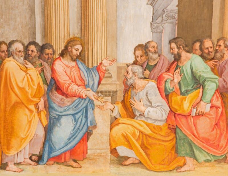 Roma - a conversão do freso de St Paul por G B Ricci de 16 centavo em di Santa Maria de Chiesa da igreja em Transpontina fotos de stock