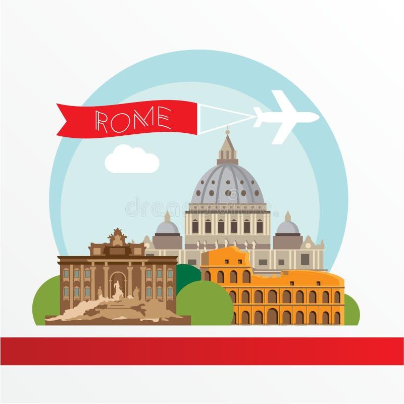 Roma detalló la silueta Ejemplo de moda del vector, estilo plano Señales coloridas elegantes stock de ilustración