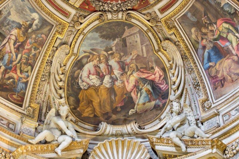 Roma - el fresco del Visitation de dios de Abraham en ábside de la capilla lateral de St John en los di Santo Spirito de Chiesa d fotos de archivo libres de regalías