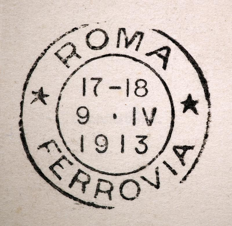 Roma Ferrovia Rome Rail Road Postmark 1913. A 1913 postmark from the Rome Italy train station, Roma Ferrovia, railroad. This image could illustrate travel stock photo