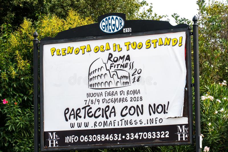 Roma Fitness annonsering 2018 arkivbild