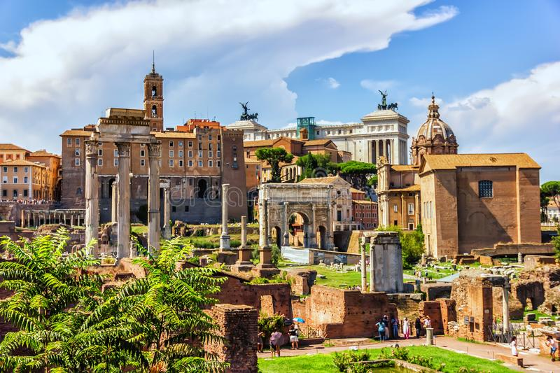Roma Forum ruins, view on: the House of the Vestal Virgins, the Temple of Vesta, the Temple of Castor and Pollux, stock photography