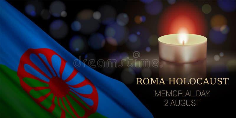 Roma holokaust Memorial Day, Sierpień 2 ilustracja wektor