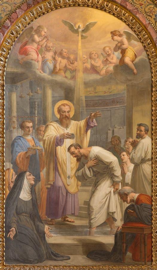 Roma - il battesimo dell'affresco di St Ambrose dell'annuncio di St Augustine in Basilica di Sant Agostino (Augustine) da Giovann fotografie stock