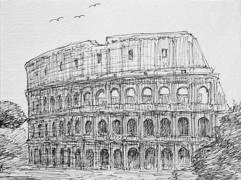 Roma, Itália Colosseum ilustração stock