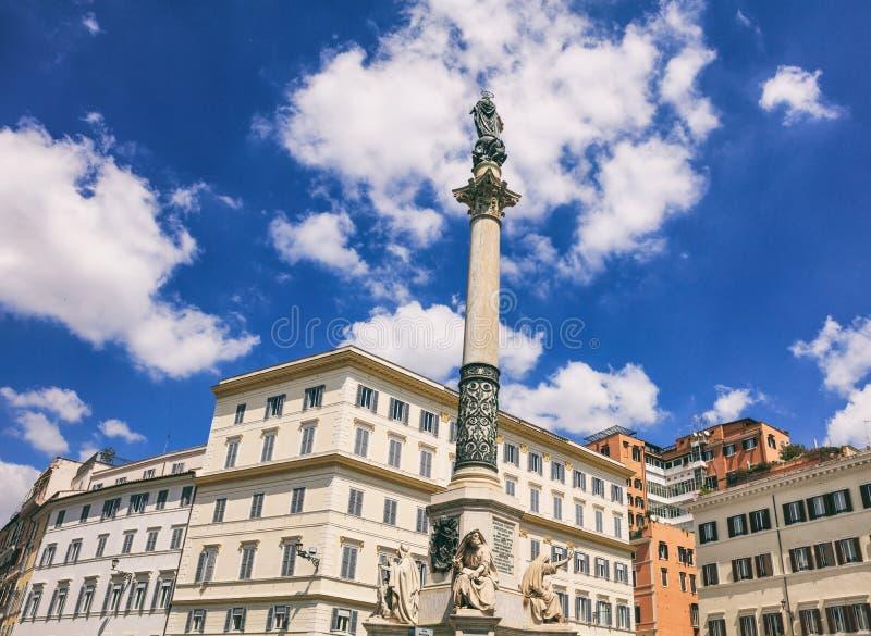 Roma, Itália - concepção imaculada da coluna foto de stock royalty free
