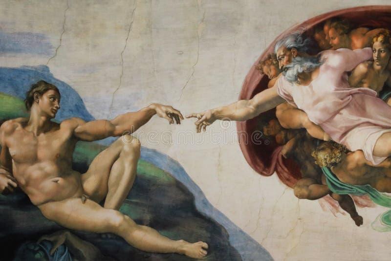 Roma Itália criação do 8 de março de Adam por Michelangelo imagens de stock royalty free