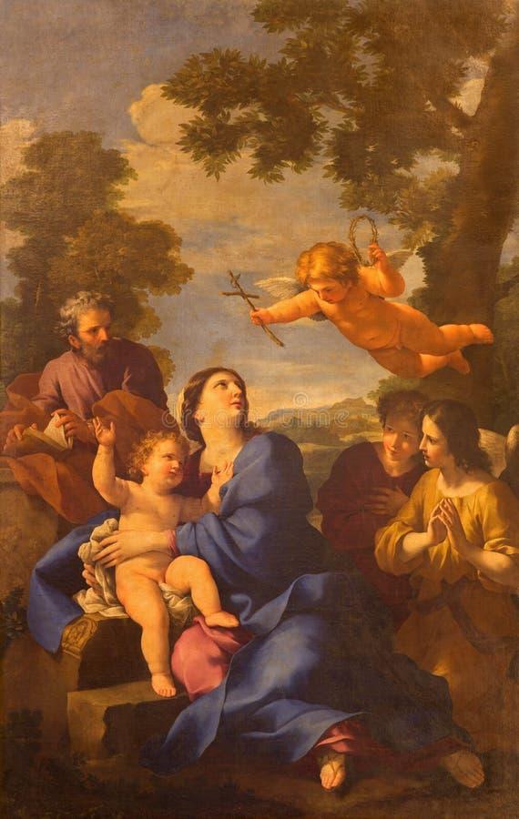 ROMA, ITÁLIA - 10 DE MARÇO DE 2016: A pintura o Reposo da família santamente em Egito no fontane de Quatro do alle de Chiesa di S imagem de stock royalty free