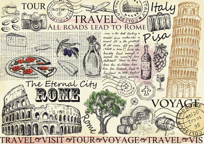 Roma Italia con la torre di Pisa e di Colosseum Illustrazione di vettore illustrazione vettoriale