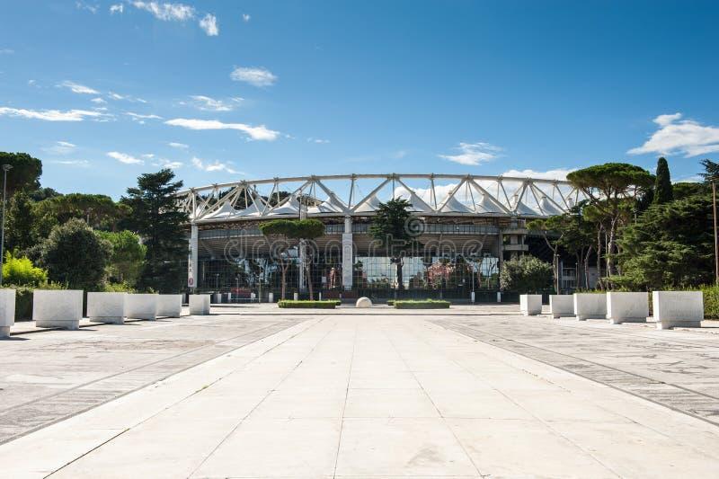 Roma, Italia - 6 de agosto de 2016 Vista exterior del estadio Olímpico imágenes de archivo libres de regalías