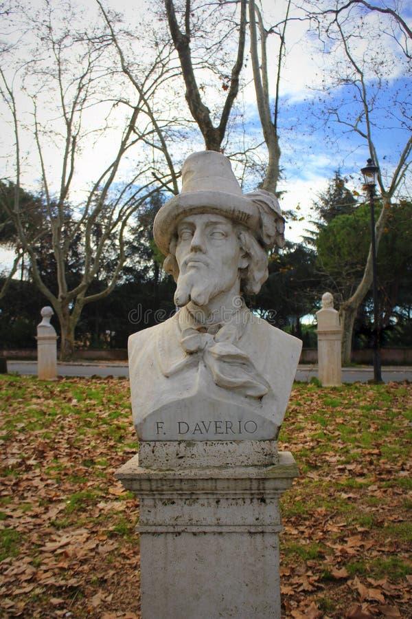 ROMA, ITALIA 31 DE DICIEMBRE DE 2018: Busto del patriota italiano Francesco Daverio en la colina de Janiculum, Roma, Italia imagenes de archivo