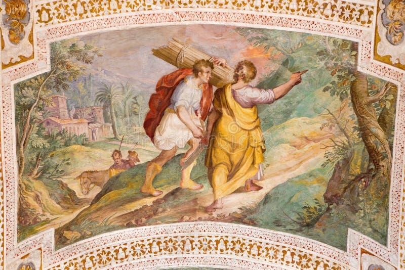 """ROMA, ITALIA - 11 DE MARZO DE 2016: El Abraham y Isaac Going al sacrificio por P Bril, y A Viviani 1560†""""1620 fotos de archivo"""