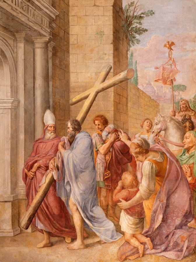 ROMA, ITALIA - 9 DE MARZO DE 2016: El emperador Constantina del fresco que lleva la cruz santa probablemente en los di Santa Mari fotos de archivo
