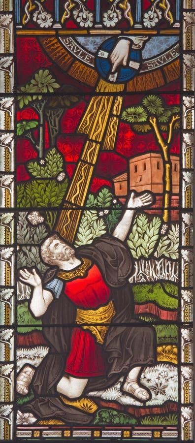 ROMA, ITALIA - 9 DE MARZO 2016: La conversión de San Pablo en el vitral de toda la Iglesia Anglicana del ` de los santos foto de archivo libre de regalías