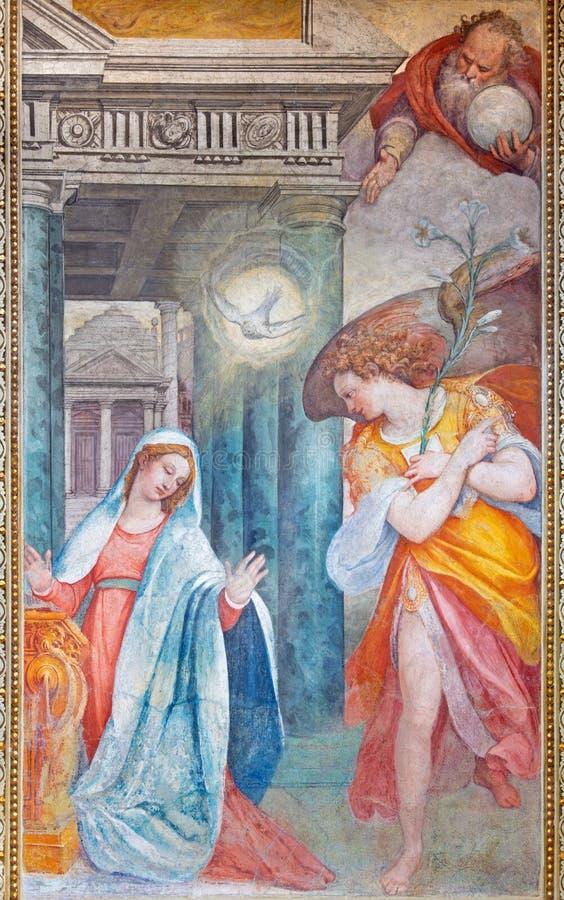 ROMA, ITALIA: El fresco del anuncio en la capilla lateral de los di Santa Maria del Orto de Chiesa de la iglesia de Frederico Zuc fotos de archivo