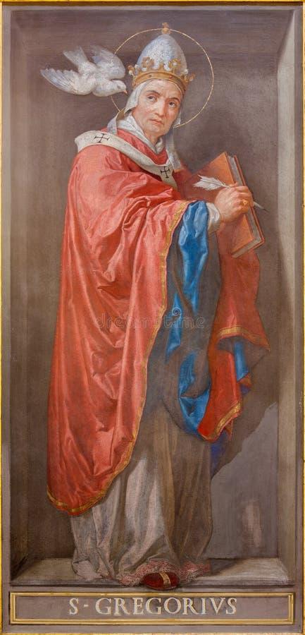 ROMA, ITALIA, 2016: El fresco del doctor de la iglesia St Gregory el grande en los di Santa Maria de Chiesa de la iglesia en Aqui imagen de archivo libre de regalías