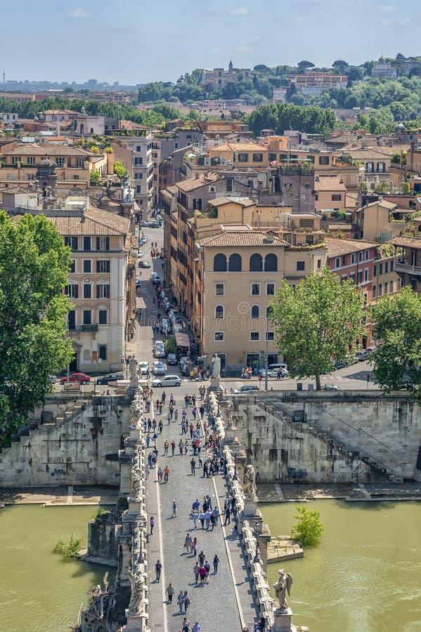 Roma Italia, Europa Visión desde un punto álgido, sobre el mercado de Trajan, y otros edificios históricos en la Ciudad del Vatic imágenes de archivo libres de regalías